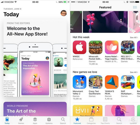App Store的UI风格,左侧为iOS11,右侧为iOS10