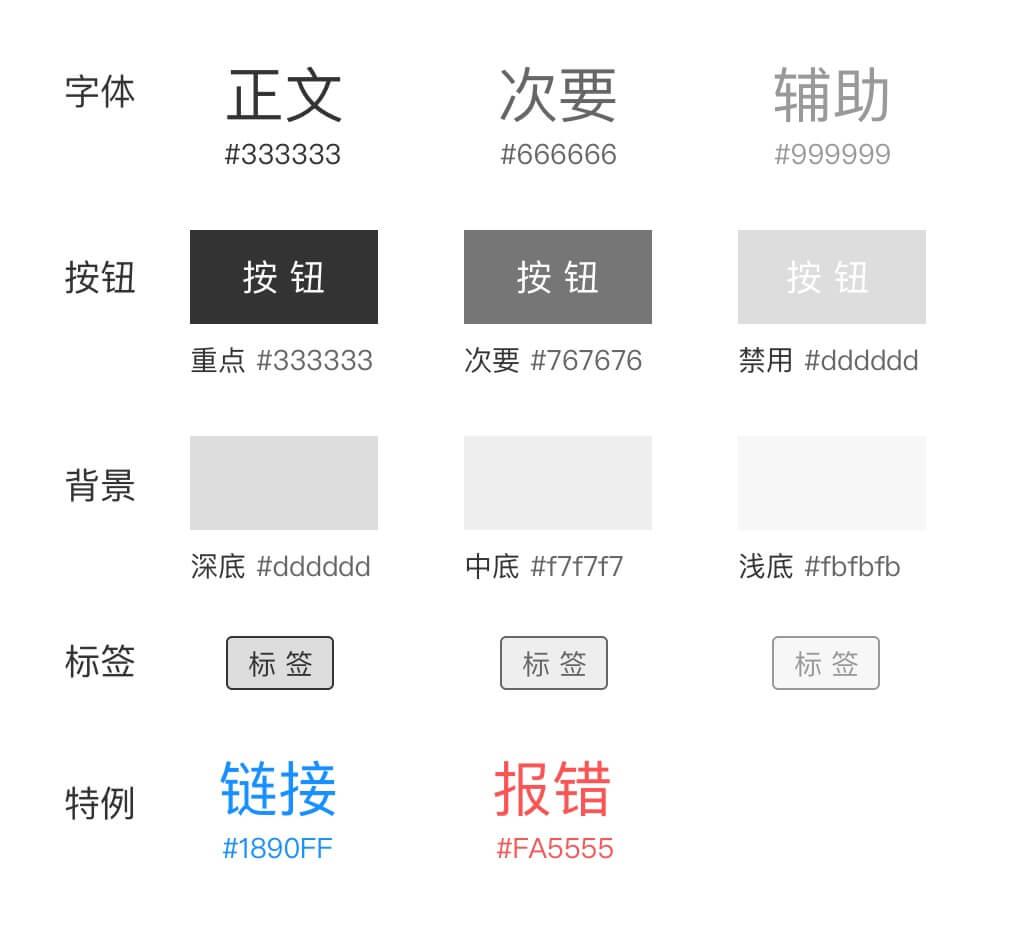 交互文档灰度配色方案